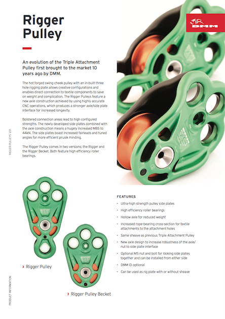 Rigger Pulley info sheet