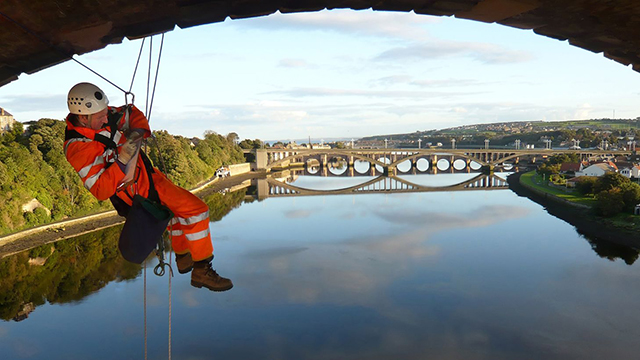 Bridge inspection using rope access